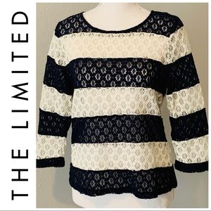 THE LIMITED NAVY & CREAM LACE TOP, 3/4 SLEEVE, MED
